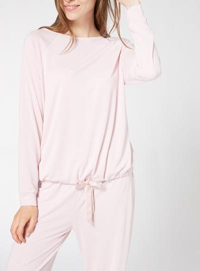 Pink Cupro Tie Hem Pyjama Top