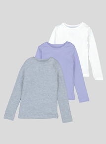 Lilac Thermal Long Sleeve Shirts 3 Pack (2-12 years)