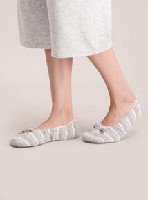 Grey & White Striped Ballerina Slippers