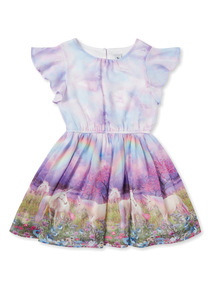 Multicoloured Unicorn Border Dress (3-14 years)