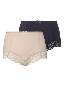 Brazilian Light Control Smoothing Lace Trim Briefs 2 Pack