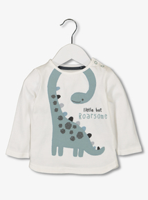 Cream & Green Dinosaur Appliqué Top (0-24 months)