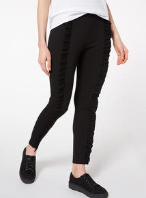 Black Frill Ponte Leggings