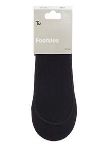 Black Core Footsie Socks 3 Pack