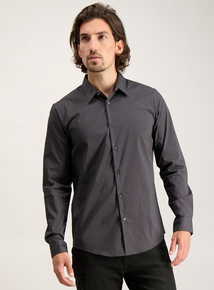 Black Spot Print Tailored Fit Shirt