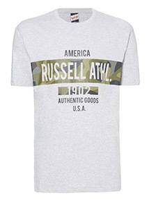 Grey Russell Athletic Camo Print Tee