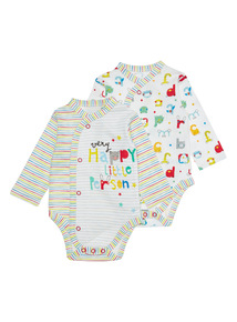 Multicoloured Two Pack Bodysuits (Newborn-12 months)