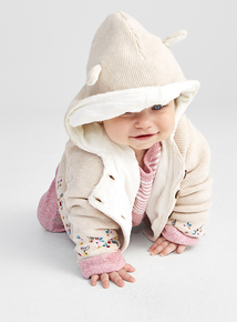 Cream Lined Hooded Cardi (0-24 months)