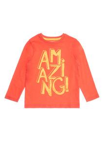 Red Amazing Slogan Long Sleeve Tee (9 months-6 years)