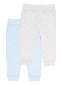 Boys Pale Blue Car Pattern Joggers (0-12 months)