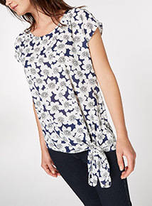 MultiColoured Floral Tie Front Shell Top