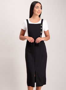 Black Button Detail Pinafore Dress