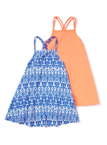 Multicoloured 2 Pack Strappy Dresses (3-14 years)
