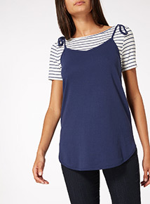 Navy 2 in 1 Stripe Layer Top