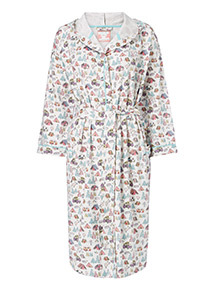 Cream Caravan Printed Dressing Gown