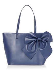 Navy Bow Applique Shoulder Bag