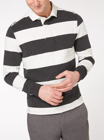 Charcoal and White Breton Striped Rugby Shirt