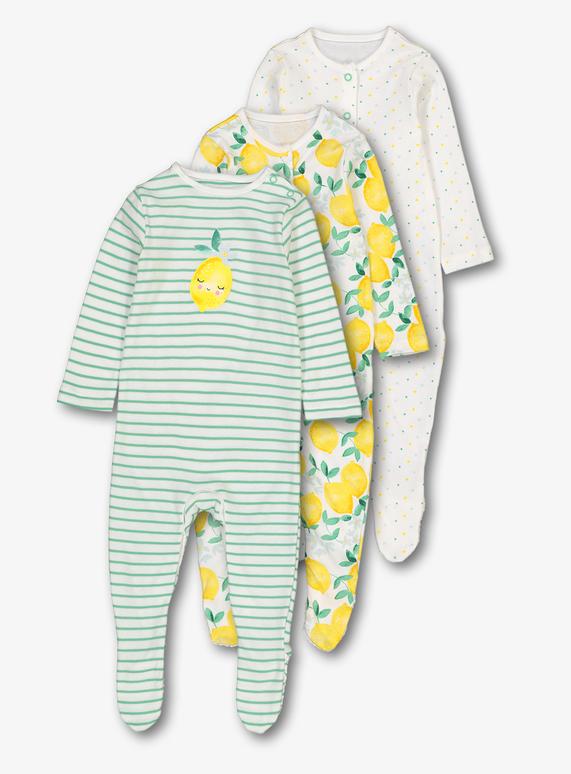 151de0402 Baby Multicoloured Citrus Sleepsuits 3 Pack (Newborn - 24 Months)   Tu  clothing