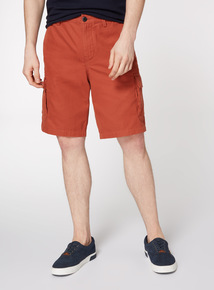 Online Exclusive Orange Canvas Cargo Shorts