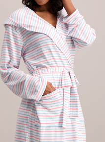 White & Pastel Stripe Dressing Gown
