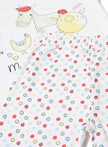 White Farmyard Pyjamas (0-18 months)