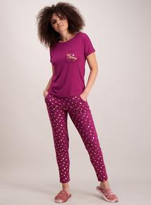 Dark Pink 'Bee Happy' Pyjamas
