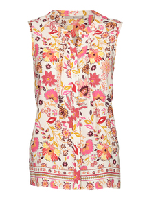 Multicoloured Floral Print Pintuck Shell Top