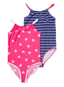 2 Pack Red Hearts and Stripes Swimsuits (4-14 years)