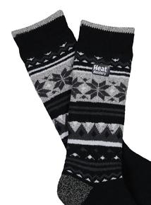 Heat Holders Black & Grey Snowflake Thermal Socks