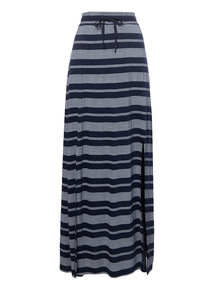 Navy Maxi Pattern Skirt