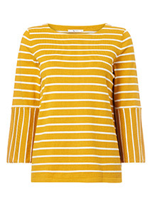 Yellow Flare Sleeve Stripe Jumper
