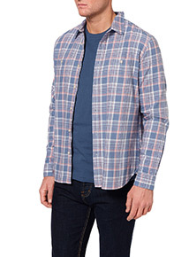 Blue and Coral Brushed Check Shirt