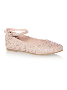 Girls Pink Laser Cut Ballerina Shoes