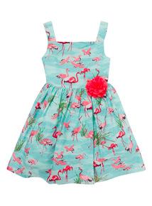 Mint Green Flamingo Dress (9 months - 6 years)