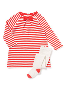 Red Stripe Sweat Dress and Tights Set (0-24 months)
