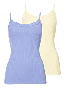2 Pack Ruffle Ribbed Camisoles
