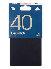 Black 40 Denier Opaque Tights 2 Pack
