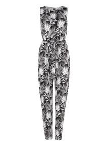 Black Palm Print Jumpsuit