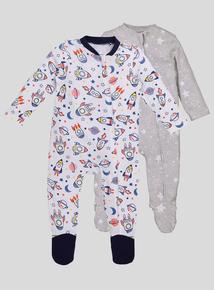 Spaceship Long Sleeve Sleepsuits 2 Pack (Newborn- 24 months)