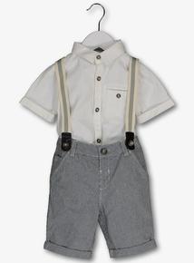Multicoloured Shirt & Shorts With Braces Set (1-6 years)