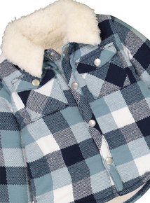 Blue Checked Fleece Lined Overshirt (0-24 months)