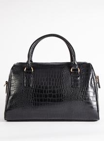 Black Mock Snakeskin Handbag With Adjustable Shoulder Strap