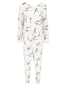 Cream Prosecco Print Pyjamas