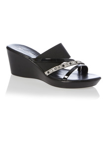 Black Diamante Strap Wedge Sandals