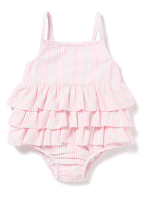 Pink Striped Frill Swimsuit (0-36 months)