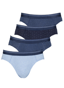 4 Pack Navy Printed Slips