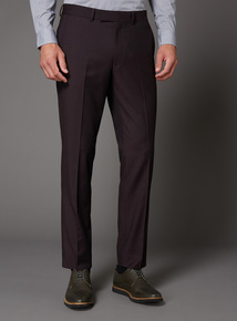 Burgundy Slim Fit Stretch Suit Trouser