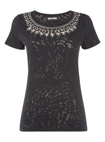 Black Embellished Neck Top