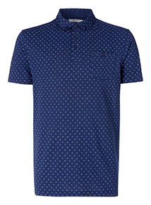 Blue Geometric Print Polo Shirt
