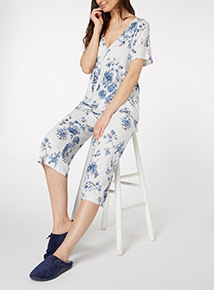 Blue Floral Wrap PJ Set